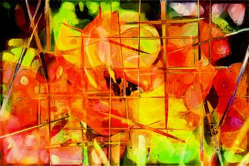 Tulpen, abstract van Carla van Zomeren