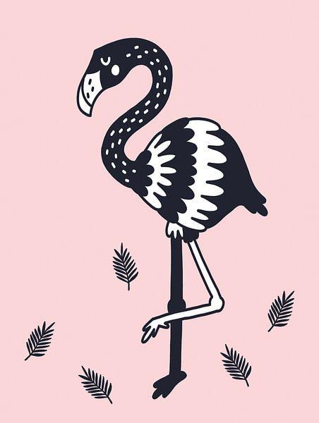 Flamingo, zwart, wit en roze voor de meidenkamer van AMB-IANCE .com