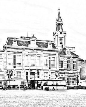 Digitale schets van de Maagd in Bergen op Zoom van Kim de Been