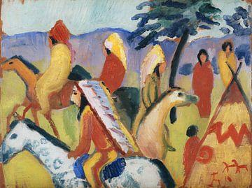 Indianer beim Zelt reiten, August Macke