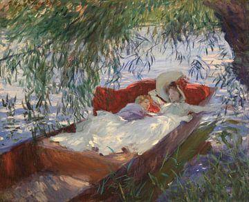 Dame und Kind schlafen in einem Kahn unter den Weiden, John Singer Sargent