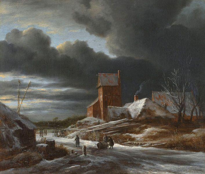 Winterlandschap, Jacob Isaacksz. van Ruisdael van Meesterlijcke Meesters