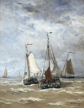 Bomschuiten op zee - Schilderij Mesdag van Schilderijen Nu