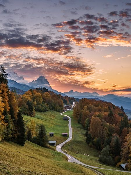 Zonsondergang in Opper-Beieren van Achim Thomae