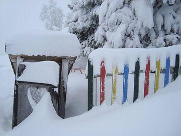 hekwerk in de sneeuw  von Joost Brauer