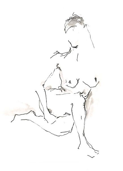Zittend naakt van Desiree Meulemans