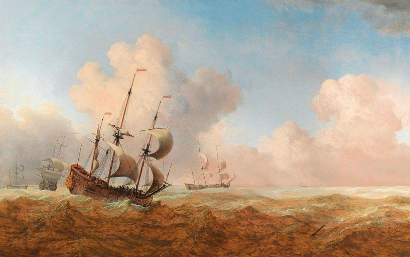 Ein englisches Schiff in rauem Wasser, Willem van de Velde der Jüngere von Meesterlijcke Meesters