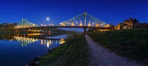 Dresde - Pont de Loschwitz (Blaues Wunder) à l'heure bleue sur Frank Herrmann