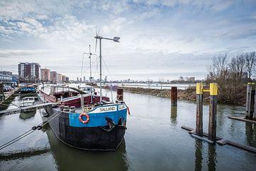 Het schip de Salland ligt bij de ingang van het Eiland van Brienenoord, Rotterdam van Annemieke Klijn