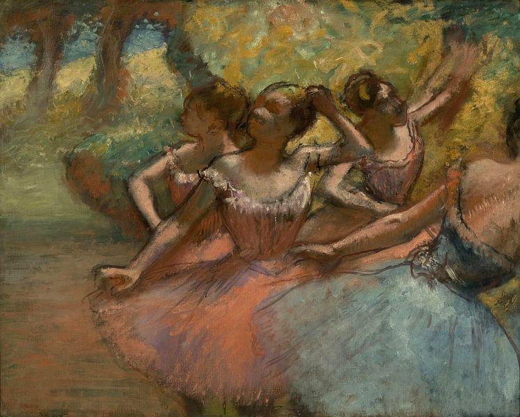 Vier Balletttänzer auf der Bühne, Edgar Degas von Meesterlijcke Meesters