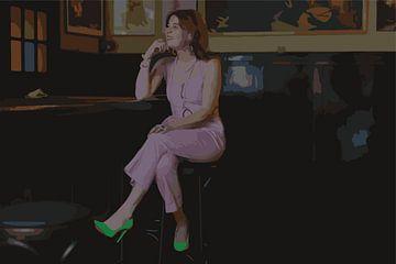 Lady in the cafe, lady in pink like Edward Hopper van Janneke Bos