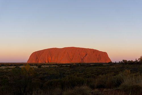 Zonsondergang bij Uluru (Ayers Rock) in het midden van Australië