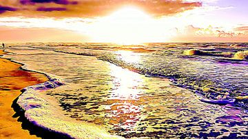 Zonsondergang strand Noordzee kust van Digital Art Nederland
