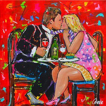 Fröhliches Essen mit einem Kuss von Vrolijk Schilderij