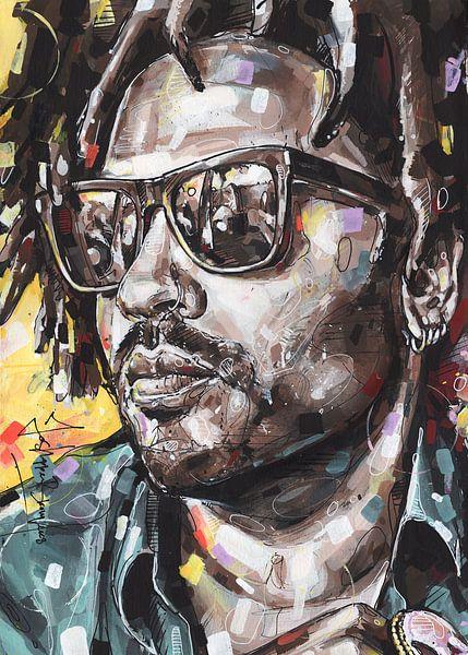 Lenny Kravitz schilderij van Jos Hoppenbrouwers