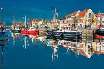 De Zuiderhaven van Harlingen in t herfstzonnetje sur