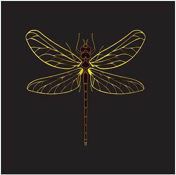 Illustration Libelle Insekt gelb-goldene Farbe auf schwarzem Hintergrund von sarp demirel