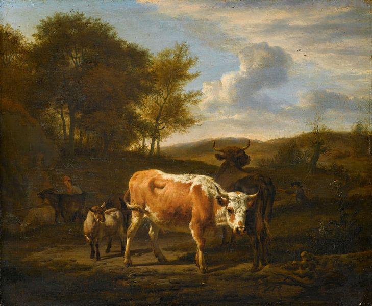 Bergachtig landschap met vee, Adriaen van de Velde