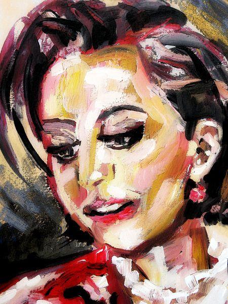 Portret van een vrouw  van Eva van den Hamsvoort