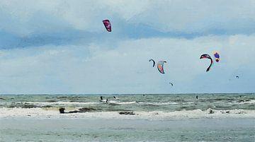 Die Kite-Surfer - Malerei von Schildersatelier van der Ven