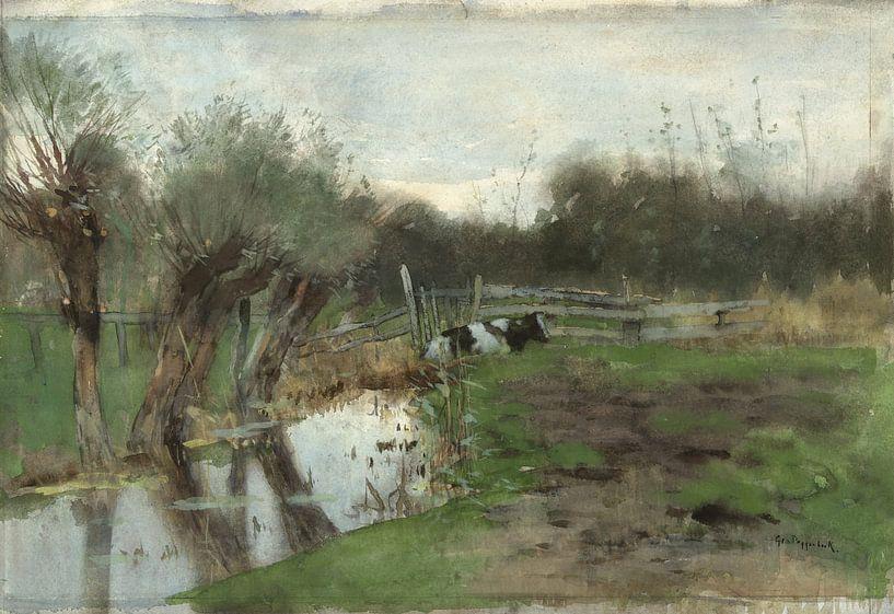 Weiland met liggende koe bij een sloot, Geo Poggenbeek van Hollandse Meesters