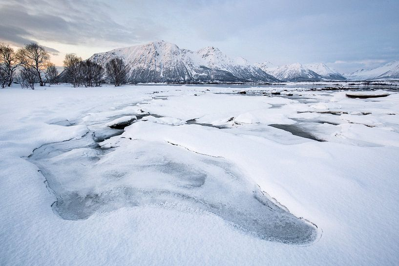 Sneeuwlandschap op de Vesteralen / Lofoten, Noorwegen van Martijn Smeets