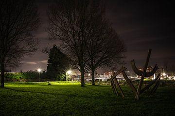 montagnes de zoom art le soir. oeuvre d'art sur Lars Mol