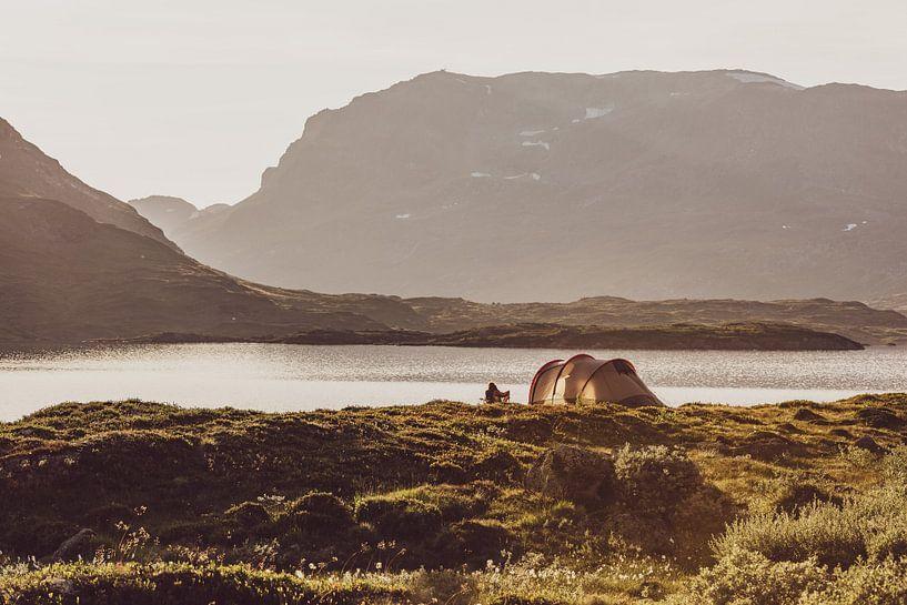 Camping im Stavatn in Norwegen, an der Telemark und mit Blick auf Hordaland von Wouter Loeve