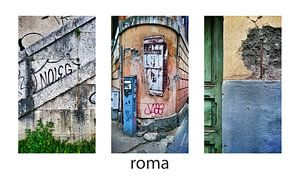 "Rome, Italië - Collage drieluik straatbeelden ""verval""."