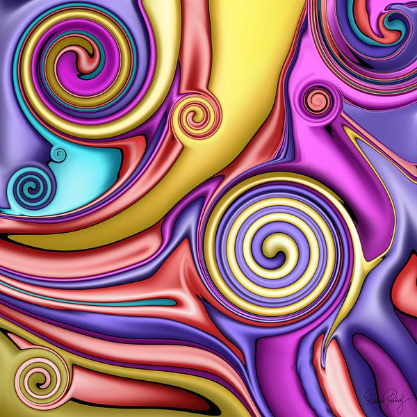 Abstrakte Kunst - Fluid Painting Colorful von Patricia Piotrak