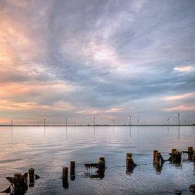 Coucher de soleil sur l'Eemmeer près de Spakenburg sur Watze D. de Haan