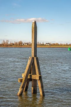 Houten dukdalf in een Nederlandse rivier van Ruud Morijn