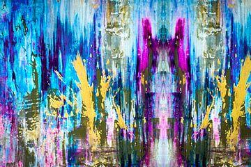 Modernes, abstraktes digitales Kunstwerk in Blau Gelb Rosa von Art By Dominic