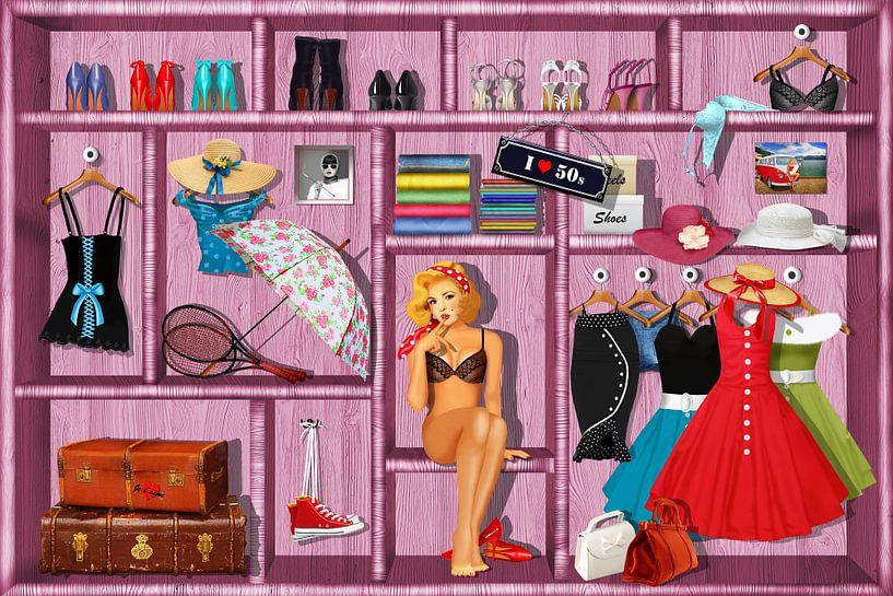 Pin Up Girl en haar kleren van Monika Jüngling