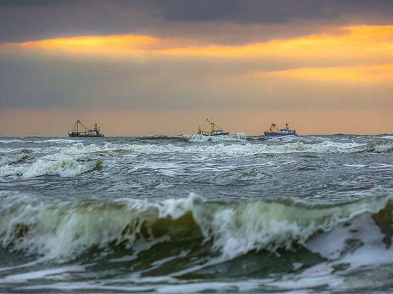 Noordzee met schepen