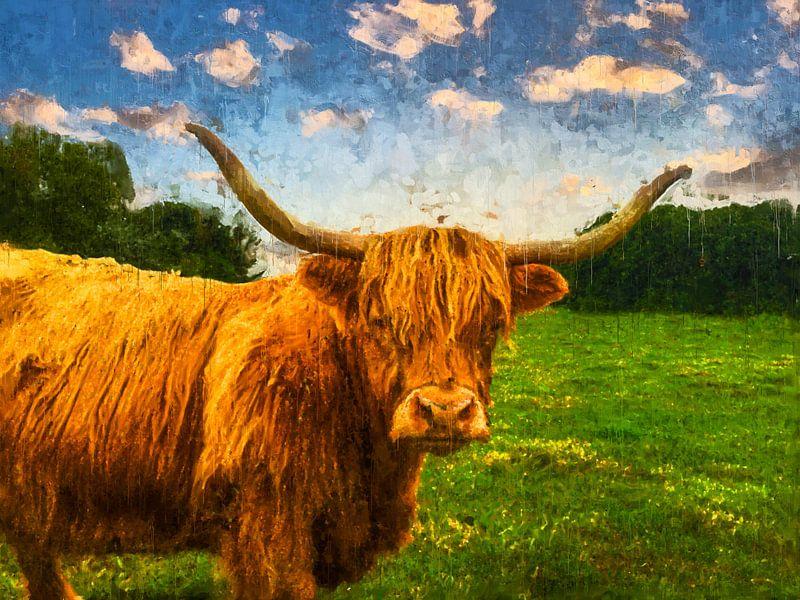 Kleurrijk geschilderd portret van een Schotse Hooglander van Arjen Roos