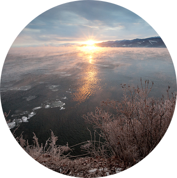 Roze dageraad doet het bevroren landschap herleven van Michael Semenov