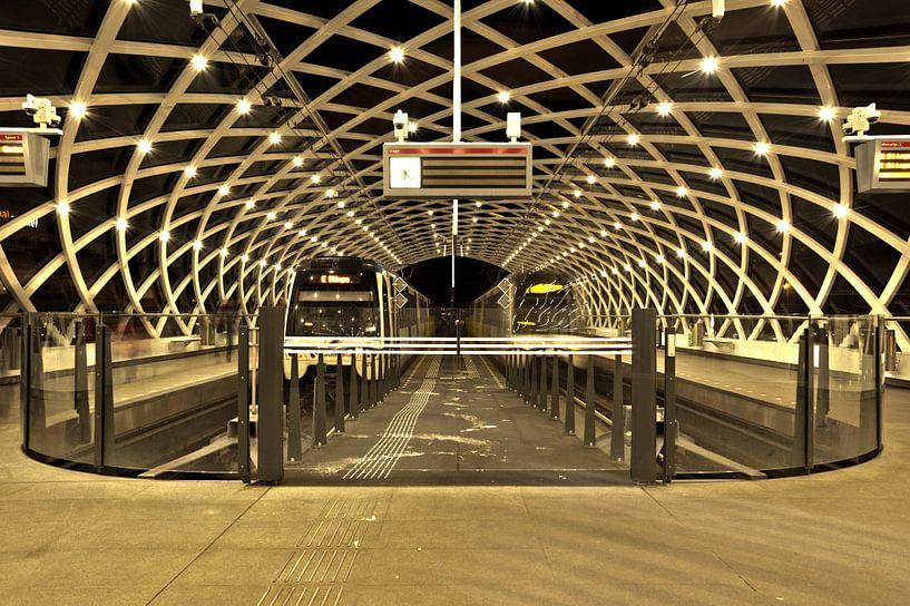 Den Haag  Centraal bij Nacht  van Rien Gieltjes