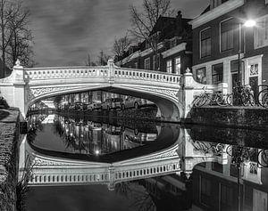 Delft Visbrug zwart-wit van