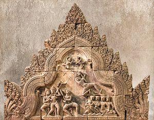 Strijdtafereel in steen in de tempel, Cambodja