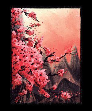 Rosa Rote Blüten vor schwarzen Bergen von LuCreator