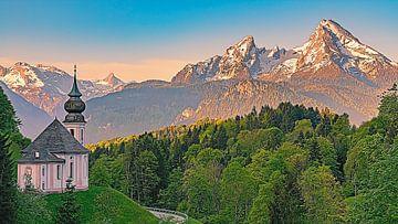 Bedevaartskerk Maria Gern bij Berchtesgaden, Beieren, Zuid-Duitsland