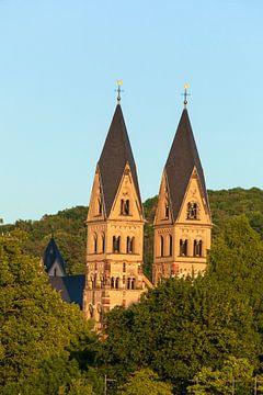Basilika St. Kastor im Abendlicht, Koblenz, Rheinland-Pfalz, Deutschland, Europa
