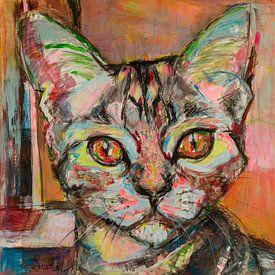 Schilderij van een portret van een kat van Liesbeth Serlie