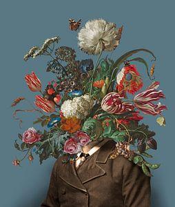 Portrait d'un homme avec un bouquet de fleurs (bleu-gris / rectangulaire)