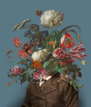Portret van een man met een boeket bloemen (blauwgrijs / rechthoekig) van toon joosen