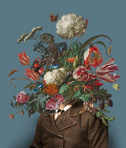 Portret van een man met een boeket bloemen (blauwgrijs / rechthoekig)