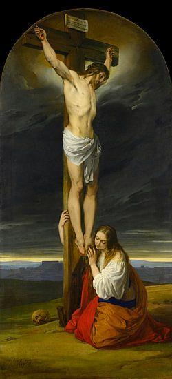 Kruisiging met Maria Magdalena Knielend en Treurend, Francesco Hayez