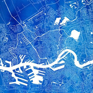 Rotterdam | Plan de la ville Blue | Square sur - Wereldkaarten.shop -
