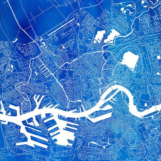 Rotterdam | Stadskaart Blauw | Vierkant